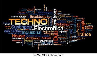 stile, wort, elektronisch, baum, etikett, musik, techno, blase, wolke