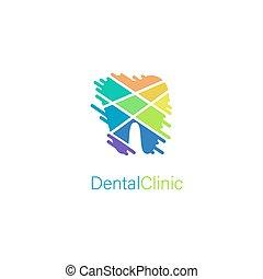 stilisiert, brandmarken, logo, klinik, dental, zahn, begriff, medizin