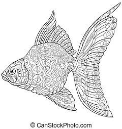 stilisiert, goldfisch, zentangle