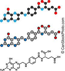 stilisiert, konventionell, acid), skelettartig, molecule., vitamin, 2d, übertragung, (folic, formula., b9