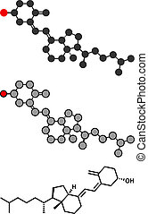 stilisiert, konventionell, d, skelettartig, molecule., vitamin, 2d, übertragung, cholecalciferol, toxiferol), formula., (d3