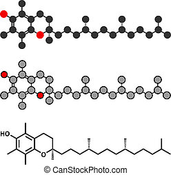stilisiert, konventionell, e, tocopherol), skelettartig, molecule., vitamin, 2d, übertragung, (alpha, formula.