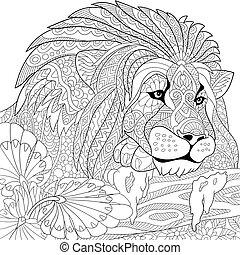 stilisiert, löwe, zentangle