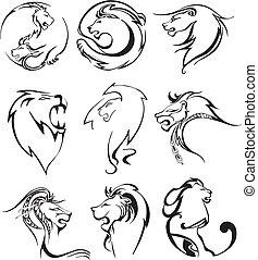 stilisiert, löweköpfe