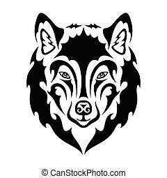 stilisiert, logo, portrait- abbildung, segeltuch., dekor, wand, design, oder, gezeichnet, t�towierung, wolf., zeichnung, druck, dieser, hand, outwear., nett, machen, stoff, sein, t-shirt, vektor, würden, abstrakt