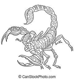 stilisiert, skorpion, zentangle