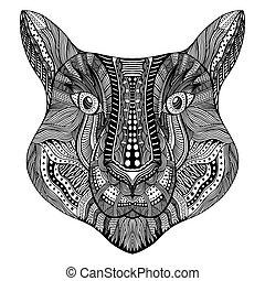 stilisiert, tiger, face., zentangle