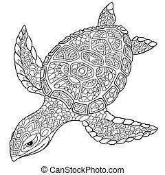 stilisiert, turtle, zentangle