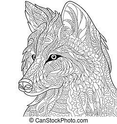 stilisiert, wolf, zentangle