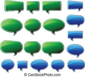 Stilvolle grüne und blaue Sprachblasen.