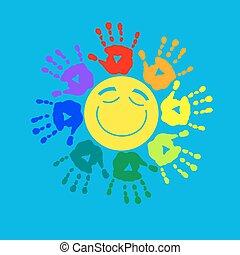 Stilvolle Karte mit einem Farbkreis von Handabdrücken.