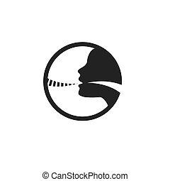 stimmlich, bild, vektor, schnur, ikone, abbildung, person