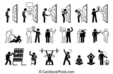 stock, icons., hilfe, figur, selbst, piktogramm, metapher
