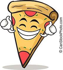 Stolze Gesicht Pizza Charakter Cartoon.
