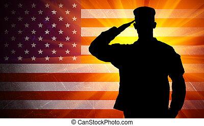 Stolzer männlicher Armeesoldat auf amerikanischer Flagge