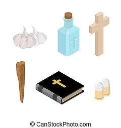 Stoppt Draper. Werkzeuge zur Vernichtung von Vampiren: Weihwasser und Bibel. Kreuz und Pfahl. Knoblauch und Silberkugeln