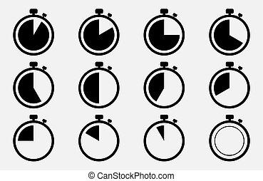 Stoppuhr-Symbol. Vector Illustration macht 10