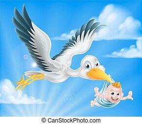 Storch fliegt mit Baby