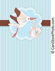 Storch und Baby-Kumpel-Karte