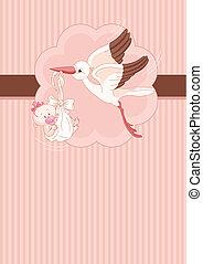 Storch und Baby-Mädchen-Karte