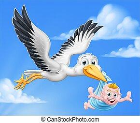 Stork Cartoon Schwangerschaft Mythen Vogel mit Baby Boy.