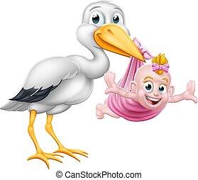 Stork Cartoon Schwangerschaft Mythen Vogel mit Baby-Mädchen.