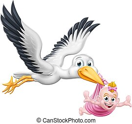 Stork Cartoon Schwangerschaft Mythen Vogel mit Baby.