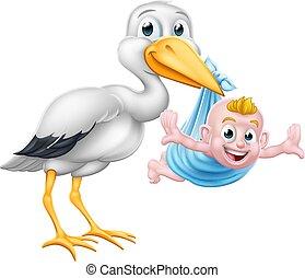 Stork Cartoon Schwangerschaft Mythen Vogel mit neuem Baby.
