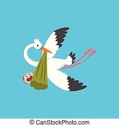 Stork liefert ein neugeborenes Baby, fliegender Vogel mit einem Bündel mit weinendem Kind, Vorlage für Baby-Dusche Banner, Einladung, Poster, Grußkarte Vektor Illustration.