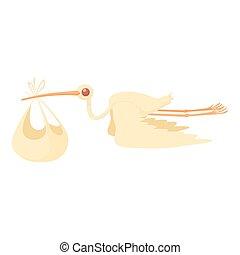 Stork liefert ein neugeborenes Baby Ikonen-Tatatur-Stil