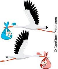 Stork liefert ein neugeborenes Mädchen und Junge.