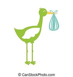 Stork mit Sack Baby isoliert Ikone.