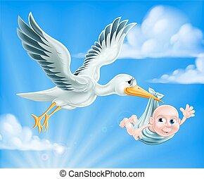 Stork und Baby Illustration
