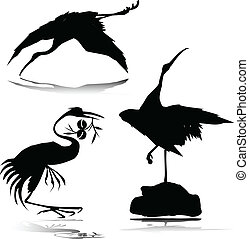 Stork Vektorsilhouettes