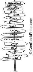 straße, altes , länder, gerichtet, afrikas, zeichen, namen, pfeil, zentral, zeichnung, süden