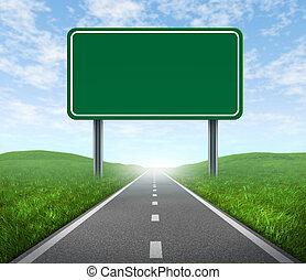 Straße mit Autobahnschild.