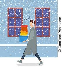 straße, winter., spaziergänge, kopfhörer, kästen, kerl, musik, mann, zuhören, shoppen
