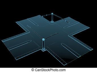 Straßenkreuzung Röntgen blau durchsichtig isoliert auf schwarz.