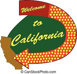 Straßenschild in Kalifornien willkommen.