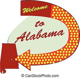 Straßenschild willkommen in Alabama.