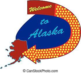 Straßenschild willkommen in Alaska.