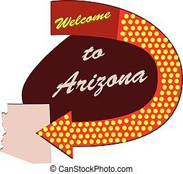 Straßenschild willkommen in Arizona.