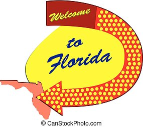 Straßenschild willkommen in Florida.
