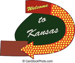 Straßenschild willkommen in Kansas.