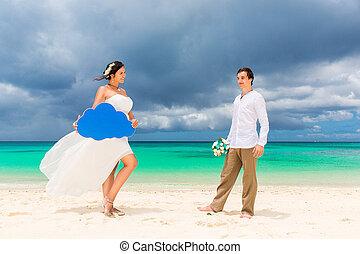strand., concept., flitterwochen, stallknecht, tropische , braut, wedding, spaß, haben, sandig, glücklich