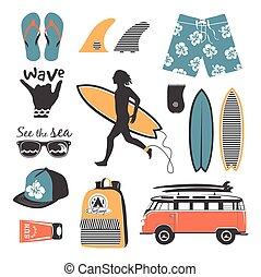 Strandstil. Surfer Retrovektor eingestellt.