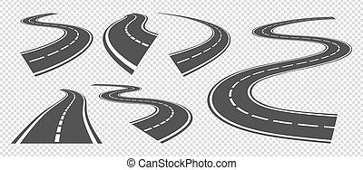 streifen, fahren, asphalt, vektor, oder, drehen, biegen, roads., perspektive, straße, straßen, landstraße, satz, pathway., kurve, grau