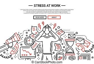 Stress bei der Arbeit - Zeile flachen Design Website Banner.