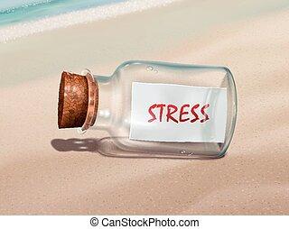 Stressnachricht in einer Flasche.