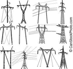 Stromleitungen einstellen. Vector Illustration